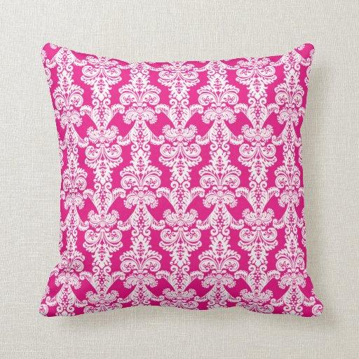 Hot Pink Damask Throw Pillow