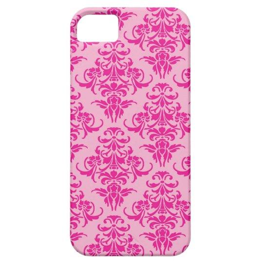 Hot pink damask vintage chandelier pattern chic iPhone SE/5/5s case