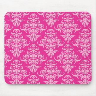 Hot pink damask vintage chandelier pattern mouse pad