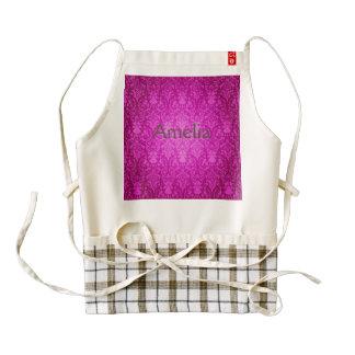 Hot pink,damask,vintage,pattern,girly,trendy,chic, zazzle HEART apron