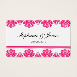 Hot Pink Damask Wedding Business Card