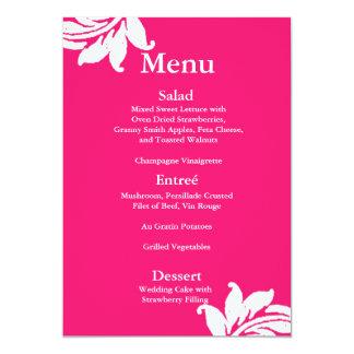 Hot Pink Damask Wedding Menu Card