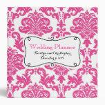 Hot Pink Damask Wedding Planner 3 Ring Binder
