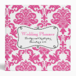 Hot Pink Damask Wedding Planner Vinyl Binder