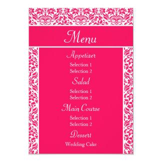 Hot Pink Damask Wedding Reception Dinner Menu Announcements