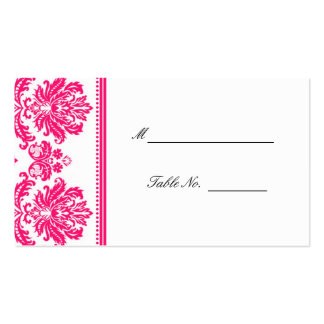 Hot Pink Damask Wedding Seating Placecards Double-Sided Standard Business Cards (Pack Of 100)