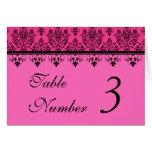 Hot Pink Damask Wedding Table Number Cards Cards