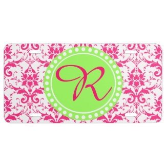 Hot Pink Damask With Lime Green Monogrammed License Plate