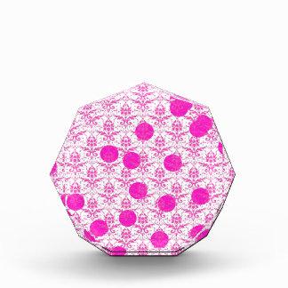 Hot Pink Damask with Pink Polka Dots Acrylic Award