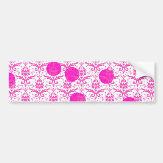 Hot Pink Damask with Pink Polka Dots Bumper Sticker