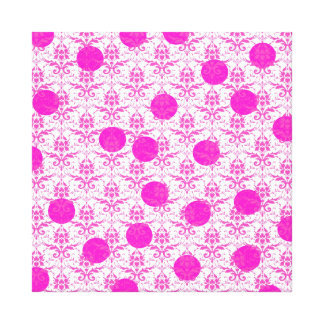 Hot Pink Damask with Pink Polka Dots Gallery Wrap Canvas