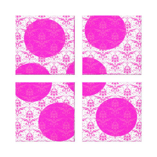 Hot Pink Damask with Pink Polka Dots Canvas Prints