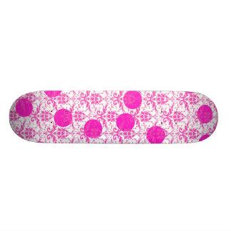 Hot Pink Damask with Pink Polka Dots Skateboard