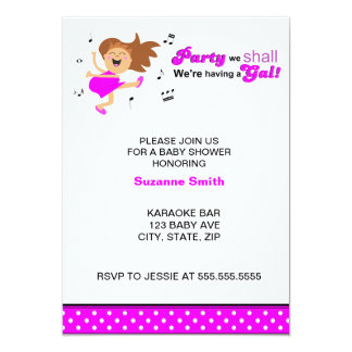 """Hot Pink Dancing Mom-to-be baby shower invites 5"""" X 7"""" Invitation Card"""