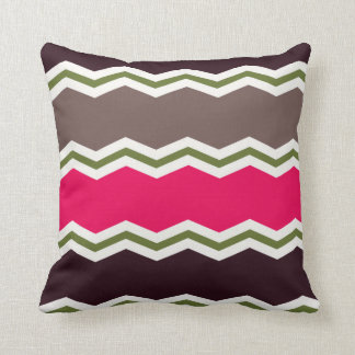 Hot Pink, Dark Brown, Taupe, and Green Chevron Throw Pillow