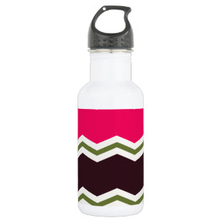Hot Pink, Dark Brown, Taupe, and Green Chevron Water Bottle