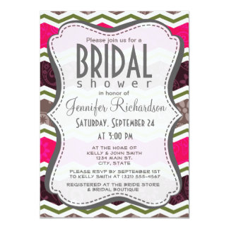 Hot Pink, Dark Brown, Taupe, and Green Paisley Personalized Invitations