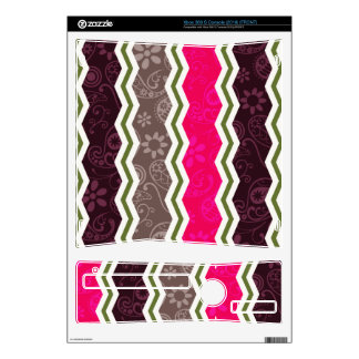 Hot Pink Dark Brown Taupe and Green Paisley Xbox 360 S Skin