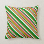 [ Thumbnail: Hot Pink, Dark Goldenrod, Light Cyan & Green Throw Pillow ]