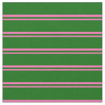 [ Thumbnail: Hot Pink & Dark Green Colored Lines Fabric ]