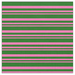 [ Thumbnail: Hot Pink & Dark Green Colored Stripes Fabric ]