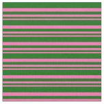[ Thumbnail: Hot Pink & Dark Green Colored Stripes Fabric ]