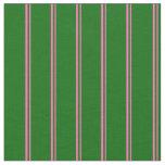 [ Thumbnail: Hot Pink & Dark Green Colored Stripes Pattern Fabric ]
