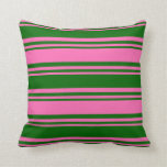 [ Thumbnail: Hot Pink & Dark Green Colored Stripes Throw Pillow ]