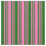 [ Thumbnail: Hot Pink & Dark Green Lined/Striped Pattern Fabric ]