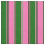 [ Thumbnail: Hot Pink & Dark Green Lines Pattern Fabric ]