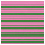 [ Thumbnail: Hot Pink & Dark Green Pattern of Stripes Fabric ]