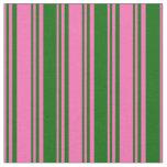 [ Thumbnail: Hot Pink & Dark Green Stripes Fabric ]