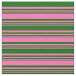 [ Thumbnail: Hot Pink & Dark Green Stripes/Lines Pattern Fabric ]
