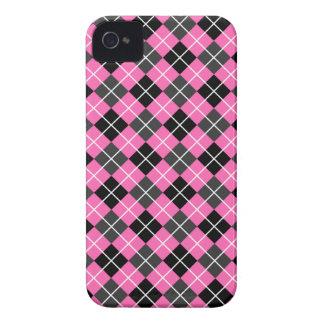 Hot Pink Dark Grey Black and White Argyle Blackberry Cases