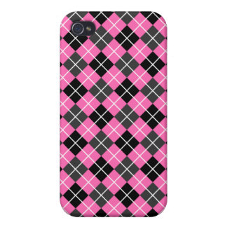 Hot Pink Dark Grey Black and White Argyle iPhone 4 Cover