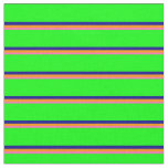 [ Thumbnail: Hot Pink, Dark Orange, Dark Blue & Lime Lines Fabric ]