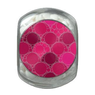 Hot Pink Dark Pink Abstract Glass Jar
