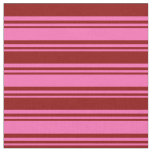 [ Thumbnail: Hot Pink & Dark Red Stripes Fabric ]