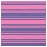 [ Thumbnail: Hot Pink & Dark Slate Blue Stripes Pattern Fabric ]