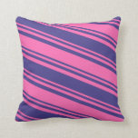 [ Thumbnail: Hot Pink & Dark Slate Blue Stripes Pattern Pillow ]