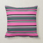 [ Thumbnail: Hot Pink, Dark Slate Gray, White, and Black Lines Throw Pillow ]