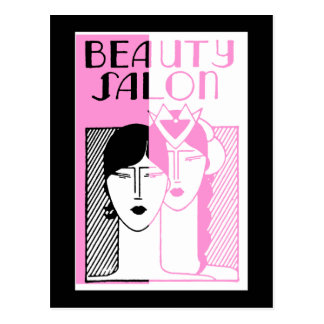 Hot Pink Deco Beauty Shop Postcard