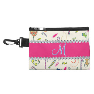 Hot Pink Diamond Candy Cane Monogram Accessories Bags