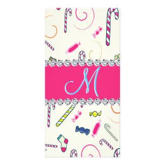 Hot Pink Diamond Candy Cane Monogram Card