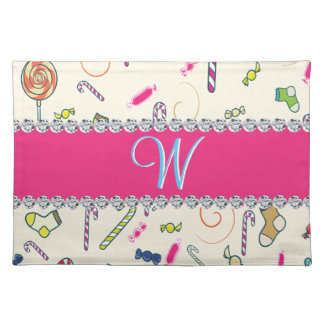Hot Pink Diamond Candy Cane Monogram Cloth Placemat