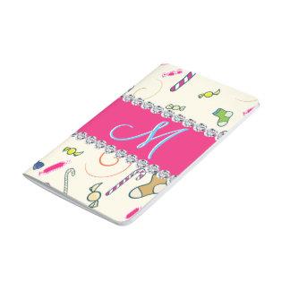 Hot Pink Diamond Candy Cane Monogram Journal