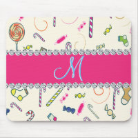 Hot Pink Diamond Candy Cane Monogram Mouse Pad