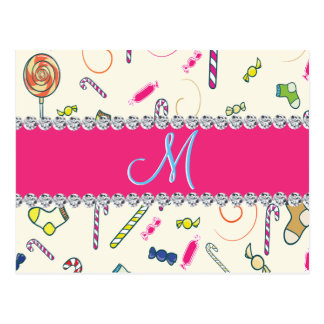 Hot Pink Diamond Candy Cane Monogram Postcard