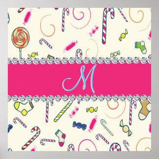 Hot Pink Diamond Candy Cane Monogram Poster