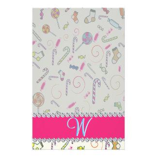 Hot Pink Diamond Candy Cane Monogram Stationery